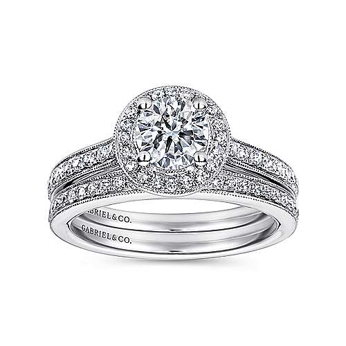 Corinne 14k White Gold Round Halo Engagement Ring