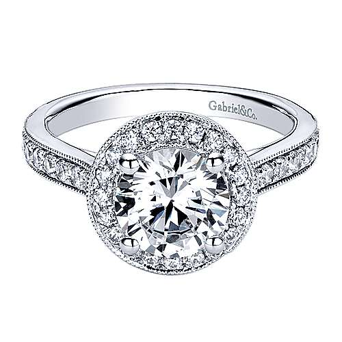 Corinne 14k White Gold Round Halo Engagement Ring angle 1