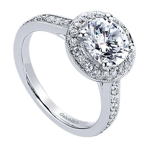 Corinne 14k White Gold Round Halo Engagement Ring angle 3