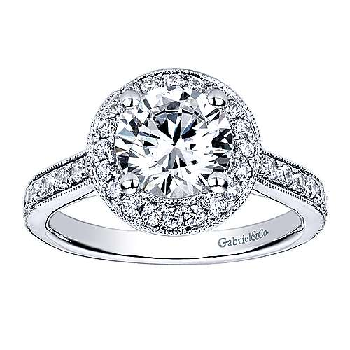 Corinne 14k White Gold Round Halo Engagement Ring angle 5