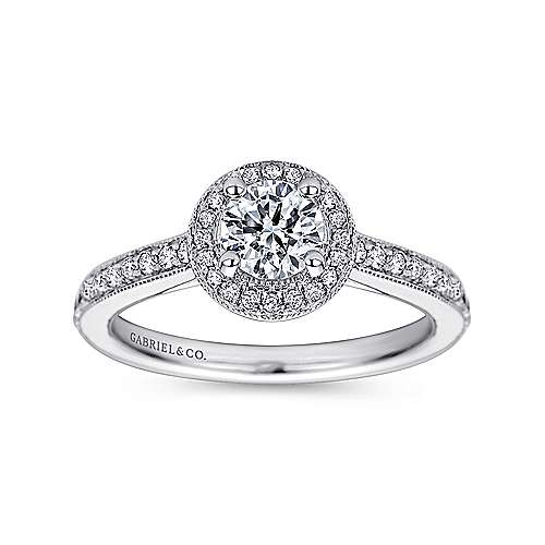 Corinne 14k White Gold Round Halo Engagement Ring