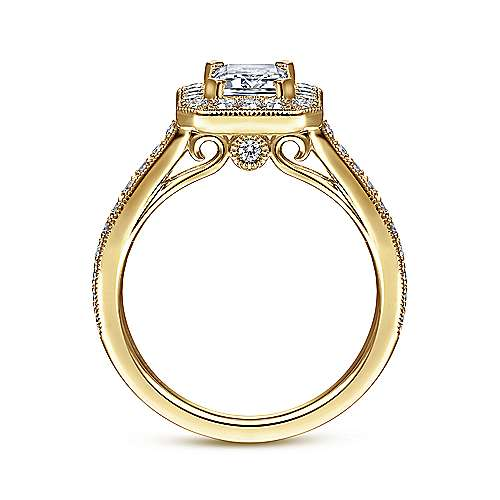 Corinne 14k Yellow Gold Emerald Cut Halo Engagement Ring angle 2
