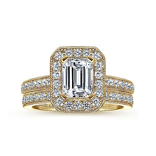 Corinne 14k Yellow Gold Emerald Cut Halo Engagement Ring angle 4