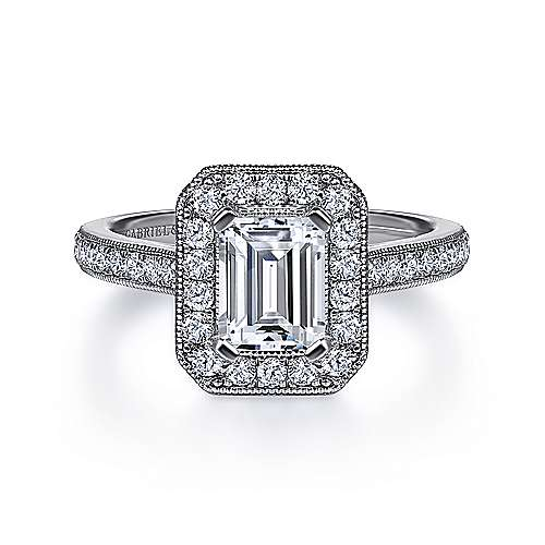 Gabriel - Corinne Platinum Emerald Cut Halo Engagement Ring