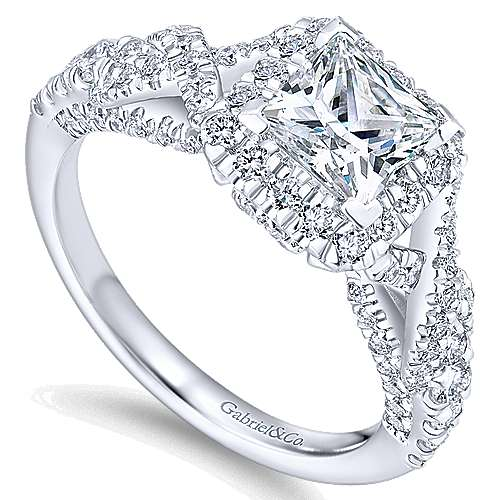 Corinthia 14k White Gold Princess Cut Halo Engagement Ring angle 3