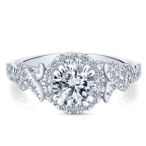 Gabriel - Corinthia 14k White Gold Round Halo Engagement Ring