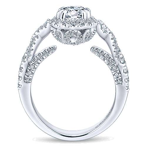 Corinthia 14k White Gold Round Halo Engagement Ring angle 2