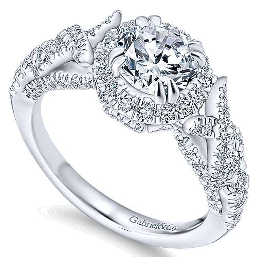 Corinthia 14k White Gold Round Halo Engagement Ring angle 3