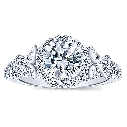 Corinthia 14k White Gold Round Halo Engagement Ring angle 5