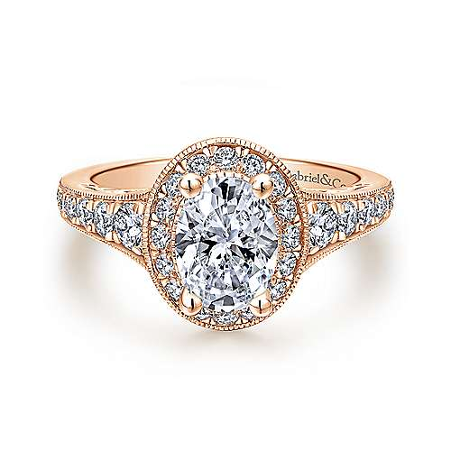 Gabriel - Cortlandt 14k Rose Gold Oval Halo Engagement Ring