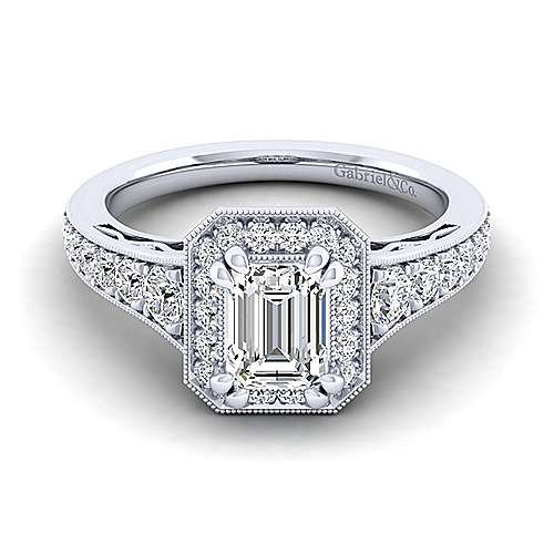 Gabriel - Cortlandt 14k White Gold Emerald Cut Halo Engagement Ring