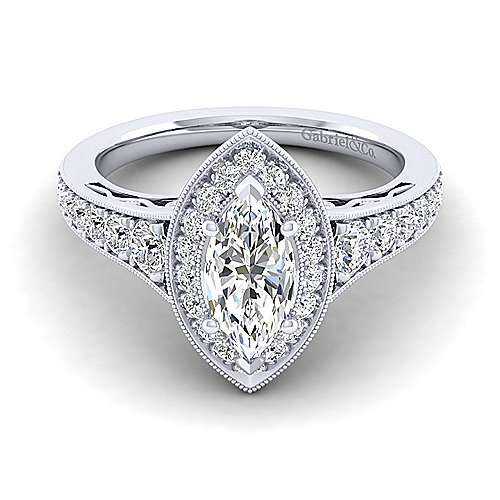 Gabriel - Cortlandt 14k White Gold Marquise  Halo Engagement Ring