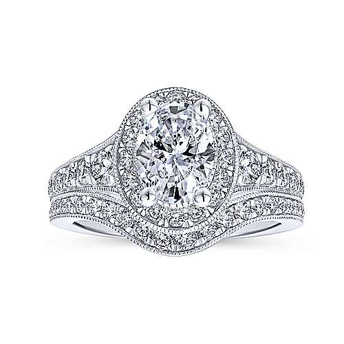 Cortlandt 14k White Gold Oval Halo Engagement Ring angle 4