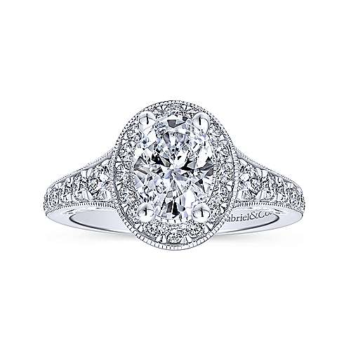 Cortlandt 14k White Gold Oval Halo Engagement Ring angle 5