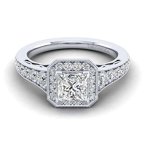 Gabriel - Cortlandt 14k White Gold Princess Cut Halo Engagement Ring