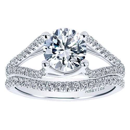 Cosmic 18k White Gold Round Split Shank Engagement Ring angle 4