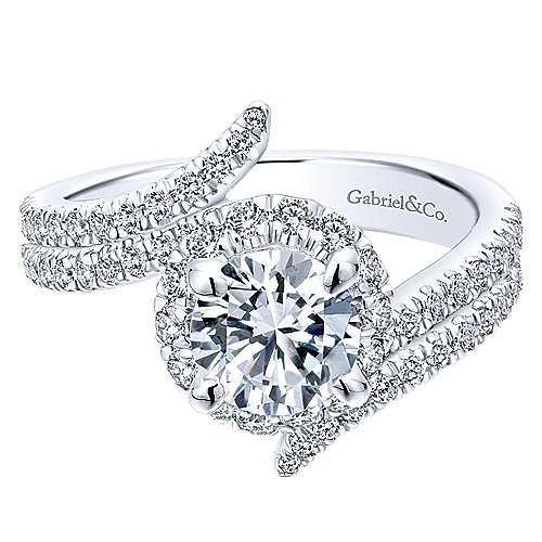 Gabriel - Cosmo 14k White Gold Round Halo Engagement Ring