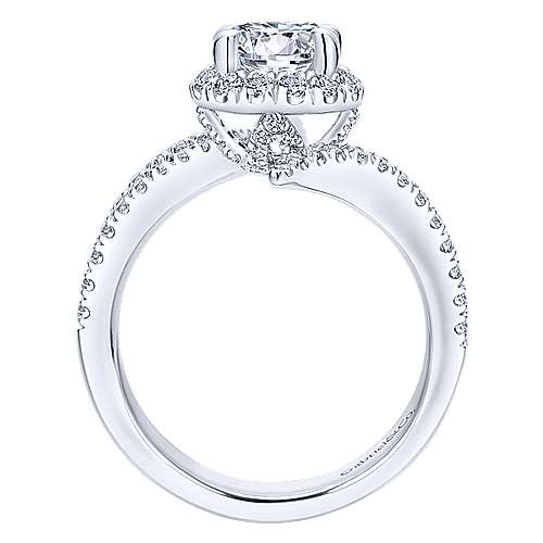 Cosmo 14k White Gold Round Halo Engagement Ring angle 2