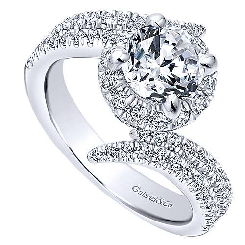Cosmo 14k White Gold Round Halo Engagement Ring angle 3