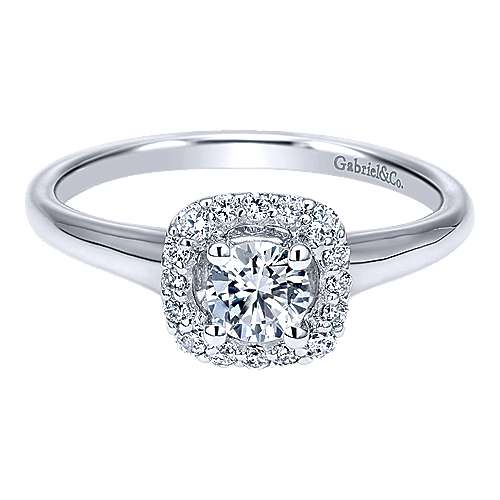 Gabriel - Courage 14k White Gold Round Halo Engagement Ring