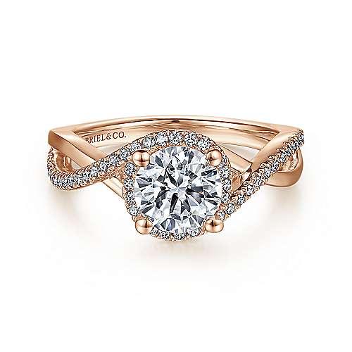 Gabriel - Courtney 14k Rose Gold Round Criss Cross Engagement Ring