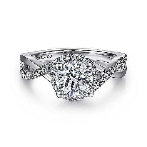 Gabriel - Courtney 14k White Gold Round Criss Cross Engagement Ring