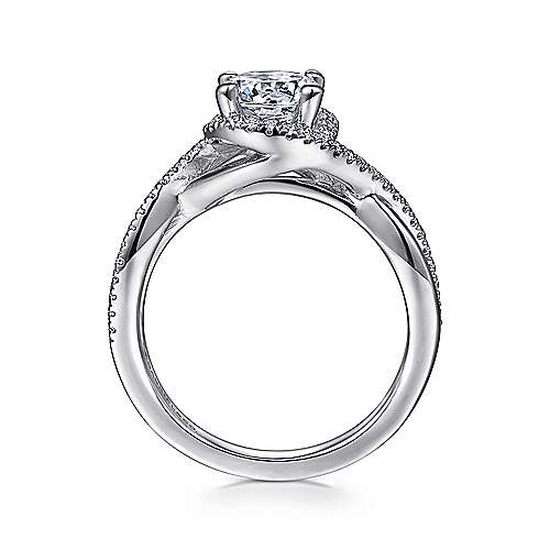 Courtney 14k White Gold Round Criss Cross Engagement Ring angle 2