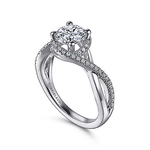 Courtney 14k White Gold Round Criss Cross Engagement Ring angle 3