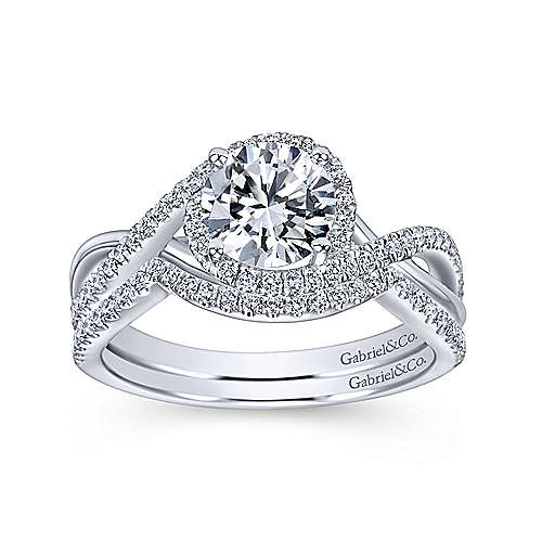 Courtney 14k White Gold Round Criss Cross Engagement Ring angle 4