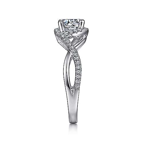 Courtney 14k White Gold Round Criss Cross Engagement Ring angle 5