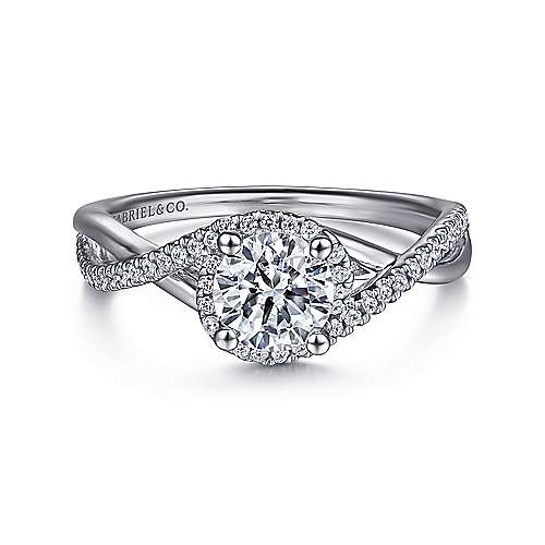 Gabriel - Courtney 14k White Gold Round Criss Cross Engagement Ring