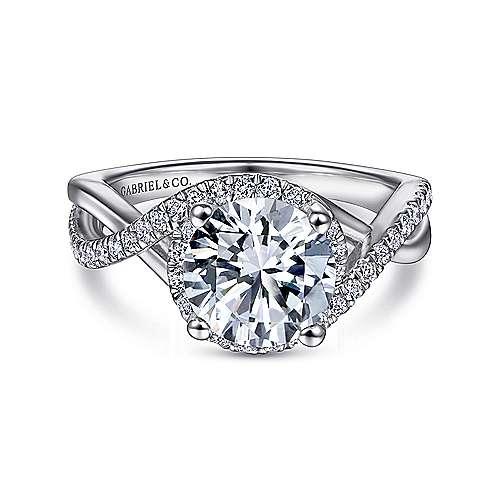 Gabriel - Courtney 14k White Gold Round Halo Engagement Ring