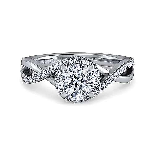 Gabriel - Courtney Platinum Round Criss Cross Engagement Ring