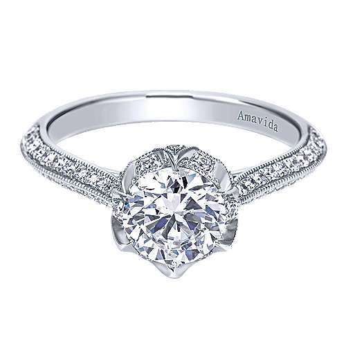 Gabriel - Crave 18k White Gold Round Straight Engagement Ring