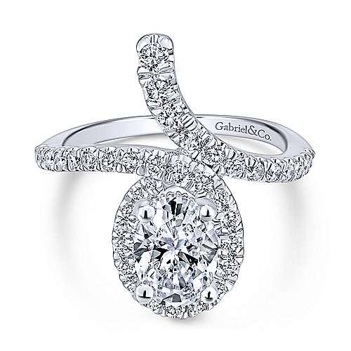 Gabriel - Cressida 14k White Gold Oval Halo Engagement Ring