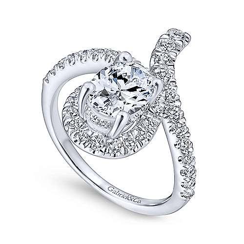 Cressida 14k White Gold Oval Halo Engagement Ring angle 3