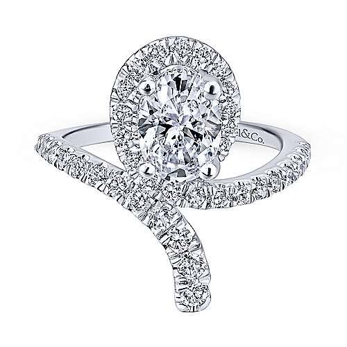 Cressida 14k White Gold Oval Halo Engagement Ring angle 5