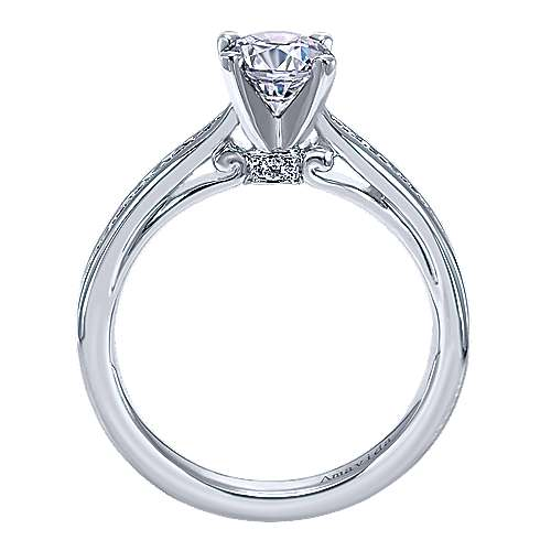 Crisantemo 18k White Gold Round Straight Engagement Ring