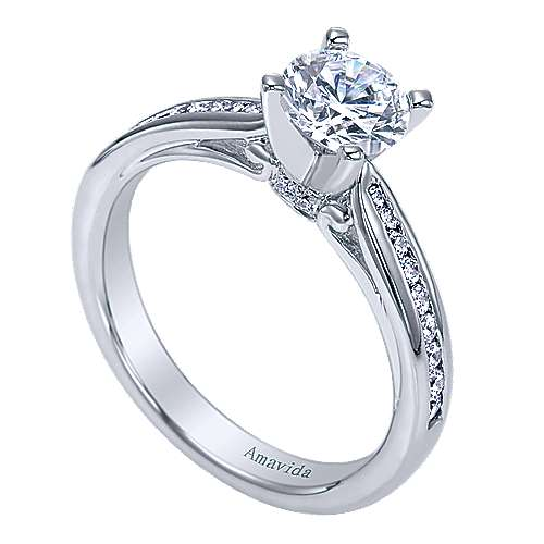 Crisantemo 18k White Gold Round Straight Engagement Ring angle 3