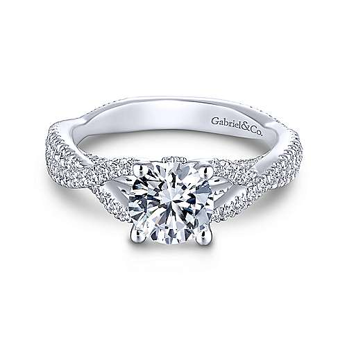 Gabriel - Cruise 14k White Gold Round Twisted Engagement Ring