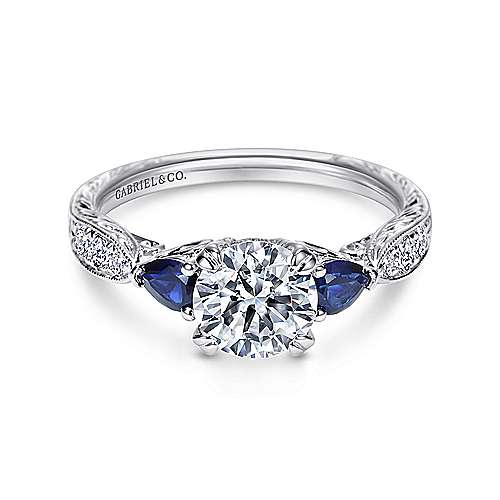 Cruz Platinum Round 3 Stones Engagement Ring