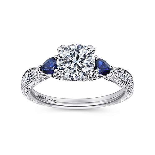 Cruz Platinum Round 3 Stones Engagement Ring angle 5