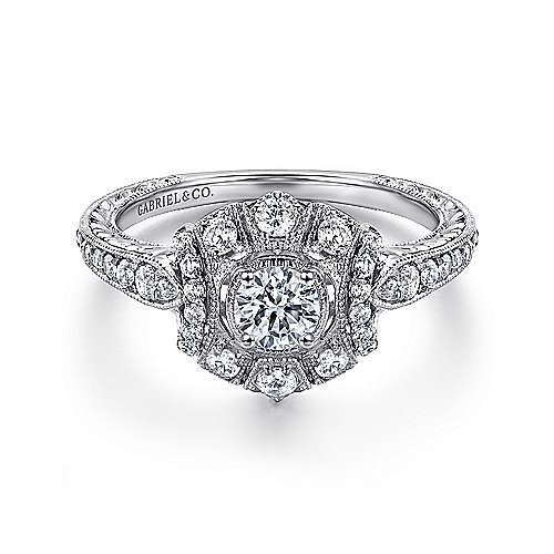 Gabriel - Crystal 14k White Gold Round Halo Engagement Ring