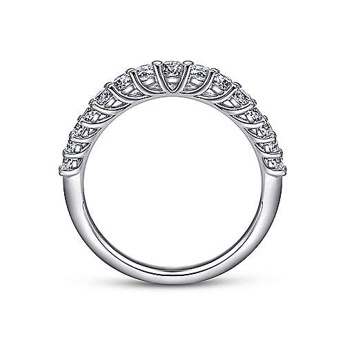 Curved 14K White Gold Shared Prong Diamond Wedding Band
