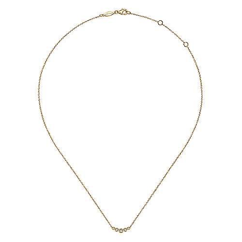 Curved 14K Yellow Gold Bezel Set Diamond Bar Necklace