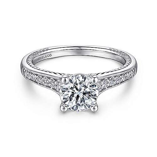 Gabriel - Cyan 14k White Gold Round Straight Engagement Ring