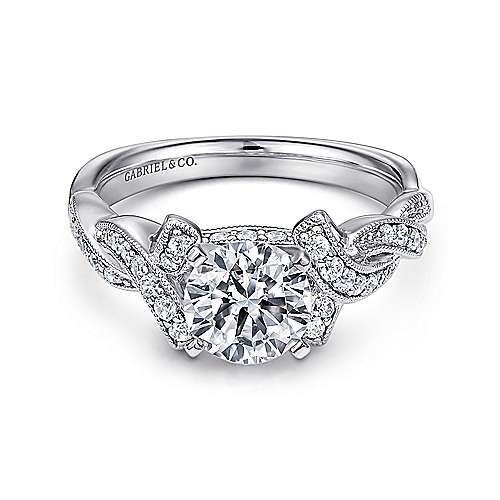 Gabriel - Cynthia 14k White Gold Round Twisted Engagement Ring