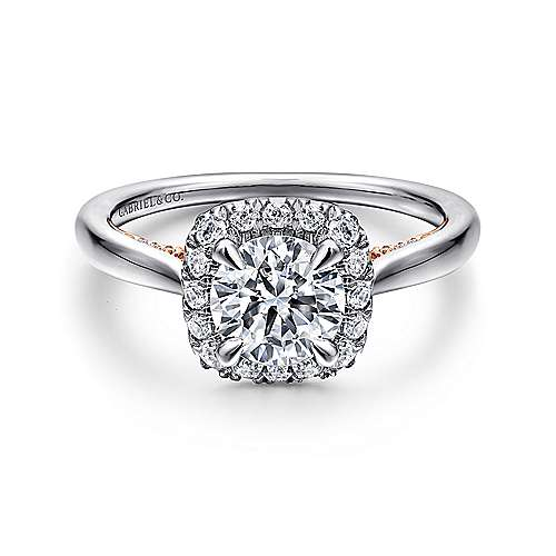 Gabriel - Cypress 14k White And Rose Gold Round Halo Engagement Ring