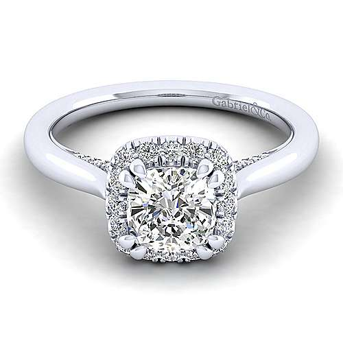 Gabriel - Cypress 14k White Gold Cushion Cut Halo Engagement Ring