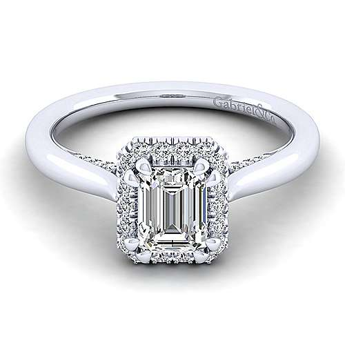 Gabriel - Cypress 14k White Gold Emerald Cut Halo Engagement Ring